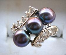 Fashion Jewelry Natural 6-7mm Black Freshwater Pearl Clear Crystal Sliver Ring