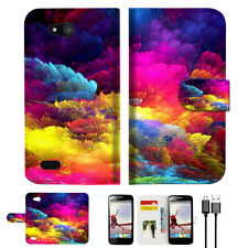 Colorful Cloud Wallet TPU Case Cover For For Telstra 4GX Buzz -- A021