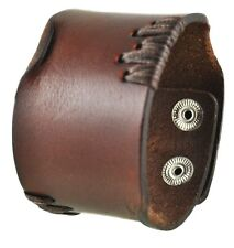 Nemesis Brown Side Stitch Leather Bracelet Cuff Band 507B Vintage Style