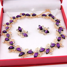 Dubai Gold Plated Purple Butterfly Resin Necklace Earrings African Jewelry Sets