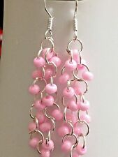 Bubble gum pink Czech Glass seed Beaded chainmaille earrings on Sterling Silver