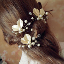 Wedding Bridal Pearl Butterfly Flower Crystal Hairpin Hair Pins Clips Accessary