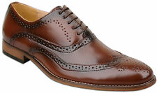 Mens Brown Lace Up Leather Lined Formal Brogues Shoes UK Size 8