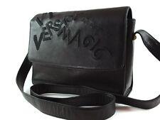 Authentic GIANNI VERSACE Black Leather Shoulder Bag VS2572L
