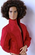 "FASHION ROYALTY HOMME RED ""SUEDE"" JACKET FITS KEN, HOTS TOYS, ETC. MINT"