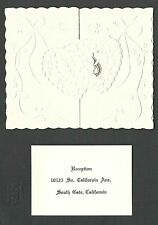1952 SOUTH GATE CA ORNATED WEDDING INVITATION HEAVILY EMBOSSED&DIE CUT, UNPOSTED