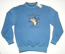 WOODLAND TRAIL Bait & Tackle BASS Fishing Lure Embroidered Sweatshirt MEDIUM NWT