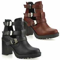 Ladies Womens New High Block Heel Cut Out Chelsea Ankle Biker Boots Shoes Size