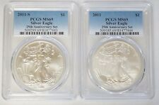 2011 P & S $1 American Silver Eagle 25th Anniversary Set PCGS MS69 Set of 2 Coin