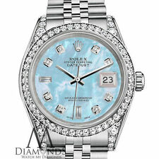 Ladies Rolex Datejust 26mm Steel Baby Blue Mother Of Pearl Diamond Dial Watch
