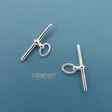 2PC Solid Sterling Silver Toggle Bar Connector ap. 18mm w/ Oval Jump Ring #33285