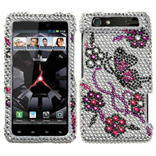 Motorola Droid RAZR XT912 XT910 - DIAMOND BLING HARD CASE COVER PURPLE BUTTERFLY