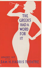 "Rare Flyer ""The Greeks Had a Word For It"" 1930 Broadway- Sam H. Harris Theatre"