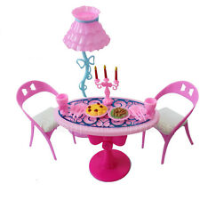 Vintage Furniture Lamp Chair Table Tableware Food Playset For Barbie NB