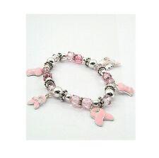 Breast Cancer Bracelet Pink Ribbon Dangle Stretchie
