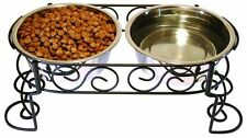 Pets Feeder Container Water Food Station Bowl Mediterranean Style Riser Dog NEW