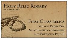 wooden rosary touched to first class relics of St. Faustina JESUS I TRUST IN YOU