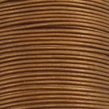 0.5mm Round Leather Cord - Metallic Gold - 5m