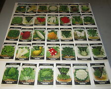 34 Different Original Old Vintage 1920's Card Seed VEGETABLE SEED PACKETS