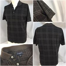 Burberry Golf Polo Shirt Small Gray Plaid 100% Cotton Made Italy EUC YGI 4137