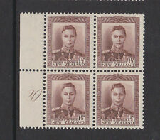 NEW ZEALAND 1938-44 1½d PURPLE-BROWN PLATE 20 CP M4a/ SG 607 MINT.