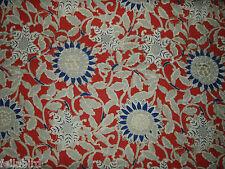 """RALPH LAUREN CURTAIN FABRIC  """"Cote D'Azur Floral Poppy"""" 3.4 METRES POPPY (340 CM"""