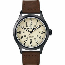 Brand New Timex Men's Expedition Scout Chrono Leather Slip-Thru Strap Brown