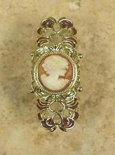 "AMEDEO GOLDTONE ""PRINCIPESSA MATILDE"" 20MM CAMEO FILIGREE ENAMEL RING SIZE 7 HSN"