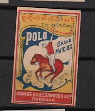 Ancienne étiquette   allumettes     Inde  CC100  Polo Cheval