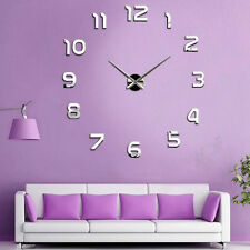 Modern Large Number Wall Clock 3D Mirror Wall Sticker Home Office Decoration ES