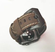 Quality Brown Leather Watch Strap Band for Apple Watch 42mm + Series 1 & 2