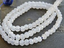 "HAND FACETED / CUT CHALCEDONY RONDELLES, 4mm, 13"", 110 beads"