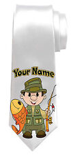 FISHING PERSONALISED NECK TIE *ANY NAME/TEXT COLOUR *GREAT MEN'S GIFT/PRESENT*