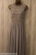 ASOS WEDDING Armour Embellished Top Flare Maxi Evening Party Dress  12 40