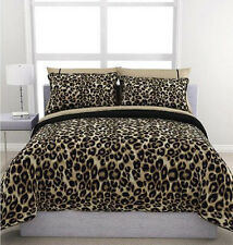 Cheetah Animal Print Brown Cream Reversible 5 piece Comforter Set Queen Size