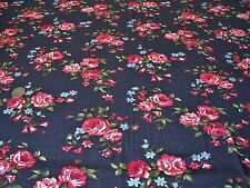 STRETCH JERSEY FLORAL PRINT-RED ROSE-NAVY/RED -DRESS FABRIC-FREE P&P
