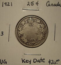 B Canada George V 1921 Silver Twenty Five Cents - VG