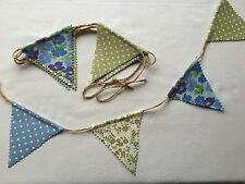 Bunting - Floral Polka Dot Blue Green Grey Shabby Chic Rustic String Detail 5ft
