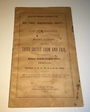 Rare Antique Bay State Agricultural Society Cattle Show & Fair Booklet! C.1889