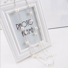 2 in 1 Long Faux Pearl Necklace Double Strand Gold / Silver Tone String Necklace