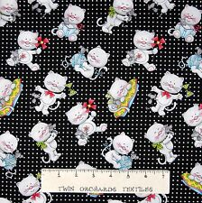 Cat Fabric - Miss Kitty's Colors Toss on Black & White - Henry Glass YARD