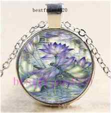 Lotus Dragonfly Photo Cabochon Glass Dome Silver Chain Pendant Necklace