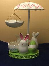 NIB YANKEE CANDLE Easter Bunny Dance Umbrella Tart Wax Warmer Burner Eggs