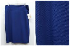 LULAROE Size XL Solid Blue Royal Stretch Knit Pencil CASSIE Skirt NEW