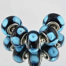 Fashion 5pcs Black & Blue Murano Glass Beads Silver Plated Fit European Bracelet