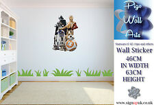 Star Wars The Force Awakens R2 D2 C3PO BB8  Childrens Bedroom wall art sticker