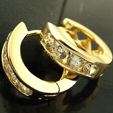 FS531 GENUINE 18K YELLOW G/F GOLD SOLID DIAMOND SIMULATED HUGGIE HOOP EARRINGS