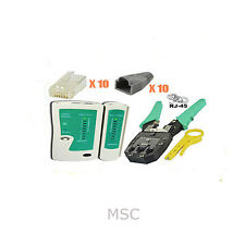 Network Kit RJ45 RJ11 Cable Tester Crimper Crimping Tool 10 x Boot End Connector