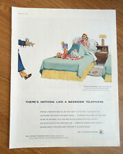 1956 Bell Telephone Ad  Bedroom Telephone Susie with New Doll Hot Coffee on Way