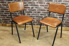 VINTAGE STYLE INDUSTRIAL LOOK CHELMSFORD BUFFALO LEATHER STACKING CHAIRS